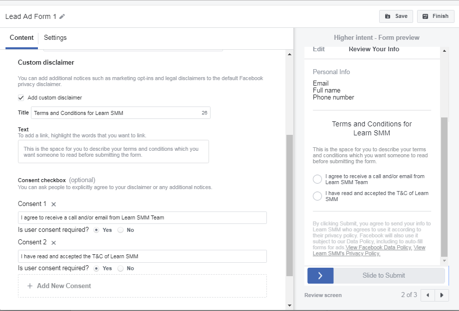 Setting Up Facebook Lead Form